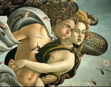 """Μποτιτσέλι. Λεπτομέρεια από τη """"Γέννηση της Αφροδίτης"""", 1485"""