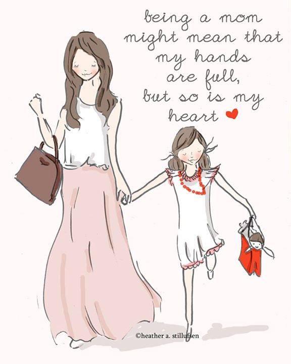 Οταν είσαι μαμά, τα χέρια σου είναι πάντα γεμάτα όπως και η καρδιά σου! Αγάπη, σεβασμός και υποστήριξη για όλες τις μανούλες του κόσμου. Χρόνια μας πολλά! Art: Rose Hill Designs by Heather Stillufsen